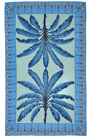 Large pure silk sarong in Banana Tree blue design by Lotty B Mustique luxury holiday style