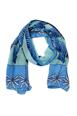 Large pure silk scarf in Banana Tree blue design by Lotty B Mustique