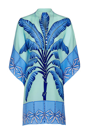 Lotty Kaftan: BANANA TREE - BLUE by designer Lotty B Mustique, luxury silk clothig