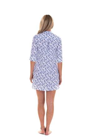 Womens Linen Flared Dress: FLAMBOYANT FLOWER - NAVY back detail designer Lotty B Mustique
