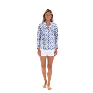Womens Linen Blouse: FLAMBOYANT FLOWER - NAVY BLUE designer Lotty B Mustique