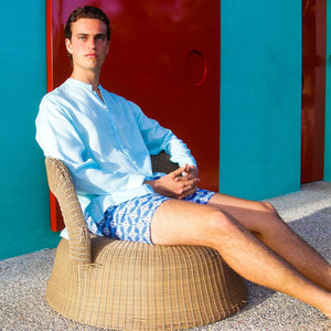 Mens designer swim shorts in Guava blue by Lotty B Mustique summer style