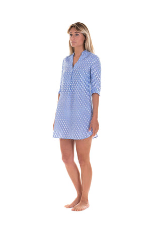 Womens Linen Flared Dress: LIFE RING - NAVY designer Lotty B Mustique
