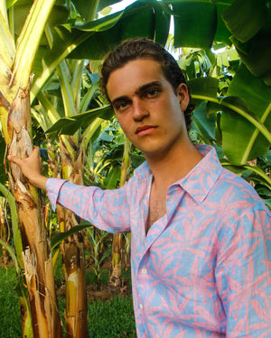 Mens Linen Shirt : BANANA TREE - PINK designer Lotty B Mustique lifestyle