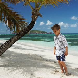 Boys swim trunks: GECKO - NAVY, Pink House Mustique childrens vacation styles designer Lotty B