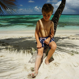 Boys swim trunks: GECKO - NAVY, Pink House Mustique childrens beach styles designer Lotty B