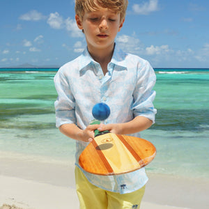 Childrens unisex linen shirt designer Lotty B Mustique kids holiday fashion
