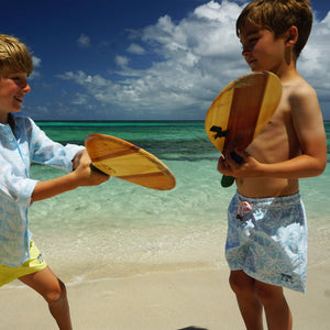 Boys swim trunks : BANANA TREE - PALE BLUE holiday kids styles, designer Lotty B for Pink House Mustique