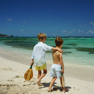 Boys swim trunks : BANANA TREE - PALE BLUE vacation kids styles, designer Lotty B for Pink House Mustique