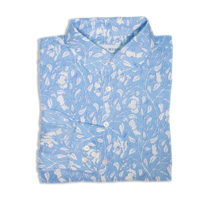 Mens Linen Shirt (Hibiscus, Blue)