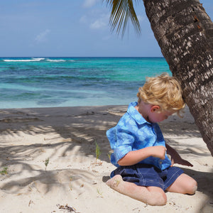 Childrens Linen Shirt: FISH - TURQUOISE designer Lotty B Mustique kids vacation wear