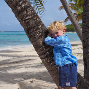 Childrens Linen Shirt: FISH - TURQUOISE designer Lotty B Mustique beach kids
