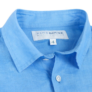 Childrens Linen Shirt: FRENCH BLUE collar detail