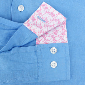 Childrens Linen Shirt: FRENCH BLUE cuff detail