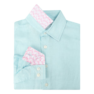 Childrens Linen Shirt: PALE BLUE designer Lotty B Mustique kids beach wear