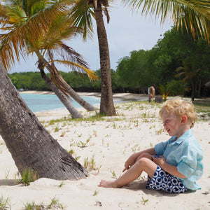Childrens Linen Shirt: PALE BLUE designer Lotty B Mustique beach kids