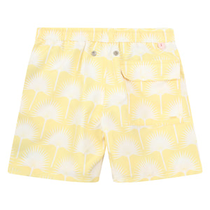 Boys swim trunks : FAN PALM - YELLOW, back
