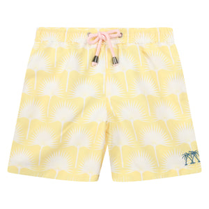 Boys swim trunks : FAN PALM - YELLOW