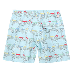 Boys swim trunks : MUSTIQUE MULE - MULTI childrens swimwear designed by Lotty B for the Pink House Mustique