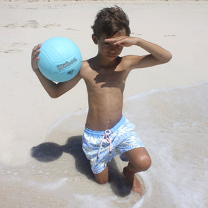 Boys Trunks (Mustique Toile Yellow/Blue) football on the beach Mustique