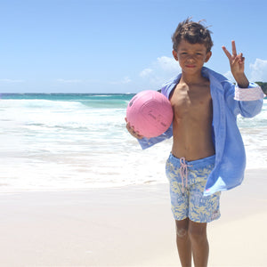 Boys Trunks (Mustique Toile Yellow/Blue) Mustique beach life
