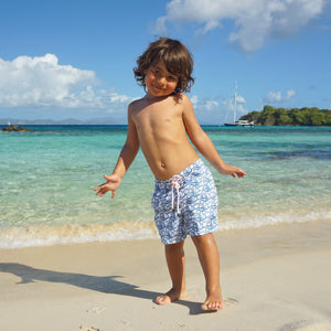 Pink House Mustique Boys swim trunks : SHARK - NAVY, kids beach wear