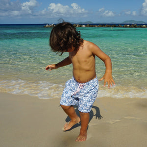 Pink House Mustique Boys swim trunks : SHARK - NAVY, Caribbean kids beach style
