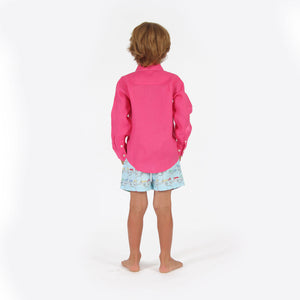 Childrens Linen Shirt: HOT PINK, back