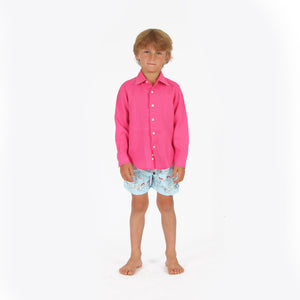 Childrens Linen Shirt: HOT PINK, front