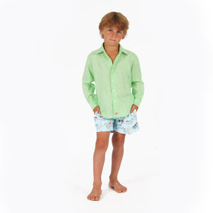 Childrens Linen Shirt: PISTACHIO GREEN, front