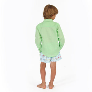 Childrens Linen Shirt: PISTACHIO GREEN, back