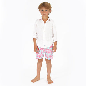 Childrens Linen Shirt: CLASSIC WHITE, front