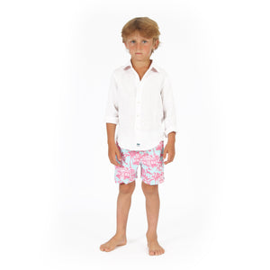 Boys Trunks (Mustique Toile Blue/Pink) with white linen shirt, front