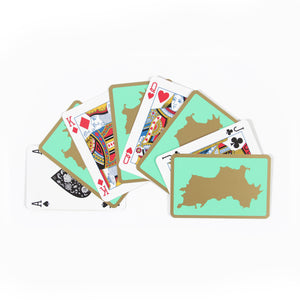 Bridge Set: 2 Decks of Playing Cards : MUSTIQUE ISLAND - Green faces fan