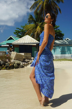 Lotty B Sarong in Silk Crepe-de-Chine: FLAMBOYANT FLOWER - BLUE designer Lotty B Mustique fabulous silks and vacation wear from the Caribbean