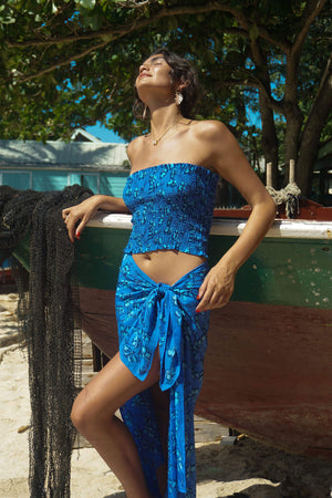 Lotty B Sarong in Silk Crepe-de-Chine: FLAMBOYANT FLOWER - BLUE designer Lotty B Mustique high end Resort wear