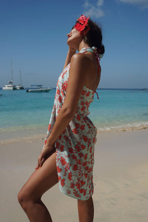 Lotty B Sarong in Silk Crepe-de-Chine: FLAMBOYANT FLOWER - ORANGE designer Lotty B, holiday style at Basil's Beach Bar Mustique