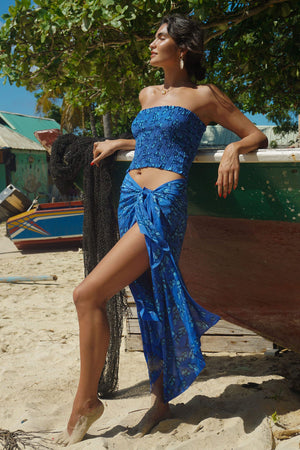 Lotty B Sarong in Silk Crepe-de-Chine: FLAMBOYANT FLOWER - BLUE designer Lotty B Mustique high end holiday style
