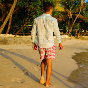 Mens designer swim wear Guava red print by Lotty B Mustique beach style
