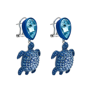 Drop earrings - Swarovski Crystal in Dark Sapphire; blue lacquer; palladium plating; brass; pierced clip back closure; designed by Catherine Prevost for Atelier Swarovski