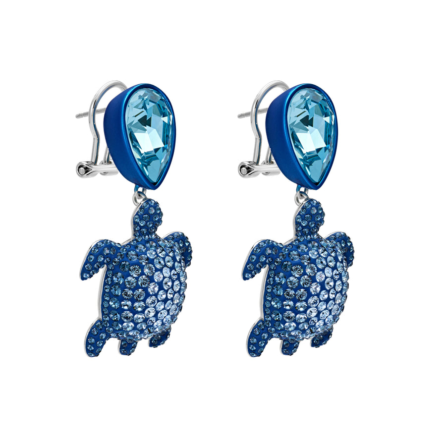 Drop Earrings : MUSTIQUE SEA LIFE TURTLE - BLUE designed by Catherine Prevost in collaboration with Atelier Swarovski is in aid of the St. Vincent & the Grenadines Environment Fund.