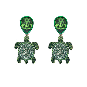 Drop Earrings : MUSTIQUE SEA LIFE TURTLE - GREEN designed by Catherine Prevost in collaboration with Atelier Swarovski is in aid of the St. Vincent & the Grenadines Environment Fund.