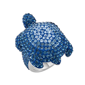 Large Cocktail Ring : MUSTIQUE SEA LIFE TURTLE - BLUE designed by Catherine Prevost in collaboration with Atelier Swarovski is in aid of the St. Vincent & the Grenadines Environment Fund.