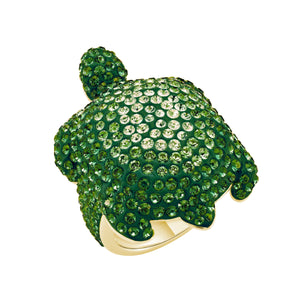 Cocktail Ring : MUSTIQUE SEA LIFE LARGE TURTLE - GREEN designed by Catherine Prevost in collaboration with Atelier Swarovski is in aid of the St. Vincent & the Grenadines Environment Fund.
