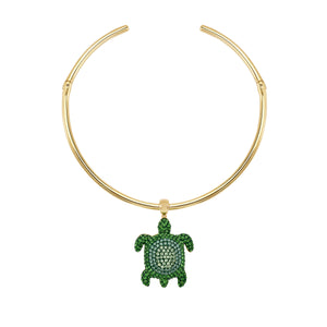 Choker Necklace : MUSTIQUE SEA LIFE TURTLE - GREEN Swarovski Crystal in Shining Green; pale gold plating; brass; clasp closure; designed by Catherine Prevost for Atelier Swarovski in aid of the St. Vincent & the Grenadines Environment Fund