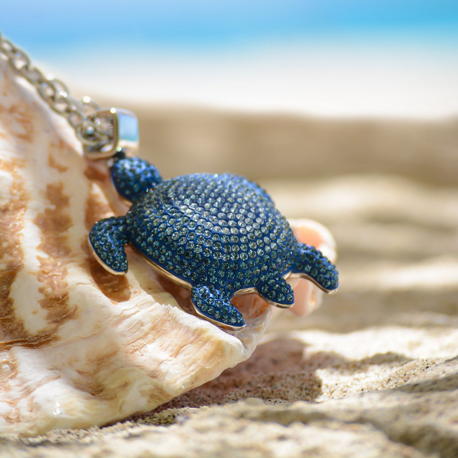 Large Pendant : MUSTIQUE SEA LIFE TURTLE - BLUE designed by Catherine Prevost for Atelier Swarovski in aid of the St Vincent & the Grenadines Environment Fund