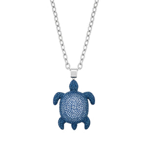Large Pendant : MUSTIQUE SEA LIFE TURTLE - BLUE designed by Catherine Prevost for Atelier Swarovski to celebrate the beauty and wonder of endangered or at risk species in the Caribbean: the Hawksbill Turtle