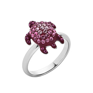 Celebrate the beauty and wonder of endangered or at risk species in the Caribbean: the Hawksbill Turtle Cocktail ring - Swarovski Crystal in Burgundy; palladium plating; brass; designed by Catherine Prevost for Atelier Swarovski