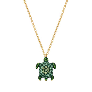 Pendant : MUSTIQUE SEA LIFE TURTLE - GREEN designed by Catherine Prevost in collaboration with Atelier Swarovski is in aid of the St. Vincent & the Grenadines Environment Fund.