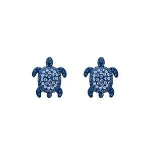 Stud Earrings : MUSTIQUE SEA LIFE TURTLE - BLUE designed by Catherine Prevost in collaboration with Atelier Swarovski is in aid of the St. Vincent & the Grenadines Environment Fund.